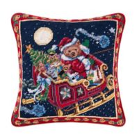 Hand-Stitched Sleigh Bear Needlepoint Throw Pillow