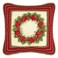 Apple Wreath Needlepoint Square Throw Pillow