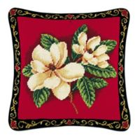 Magnolias on Red Needlepoint Throw Pillow