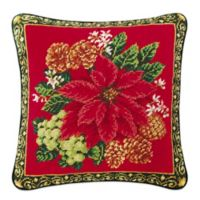 Poinsettia on Red Needlepoint Throw Pillow