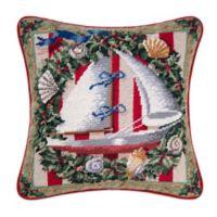 Safari Sailboat Needlepoint Throw Pillow