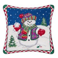 Snowman with Snowballs Needlepoint Square Throw Pillow