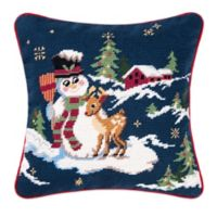 Snowman with Reindeer Needlepoint Square Throw Pillow
