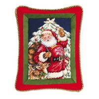 Santa with Deer Needlepoint Throw Pillow