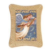 Hand-Stitched Angel with Harp Needlepoint Throw Pillow