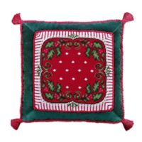 Happy Holly Days Square Throw Pillow