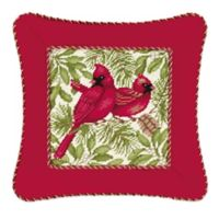 Hand-Stitched Corded Cardinal Needlepoint Throw Pillow