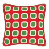 Hand-Stitched Christmas Block Needlepoint Throw Pillow