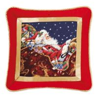 Santa with Sleigh Needlepoint Throw Pillow
