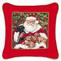 Santa with Pups Needlepoint Throw Pillow