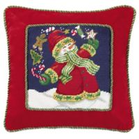 Juggling Snowman Needlepoint Throw Pillow