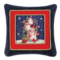 Three Snowmen Needlepoint Square Throw Pillow