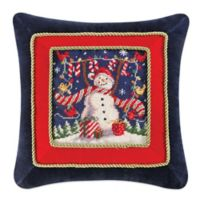 """Noel"" Snowman Needlepoint Square Throw Pillow"