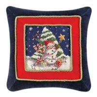 Snowman with Christmas Tree Needlepoint Square Throw Pillow