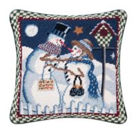 Snow Couple Needlepoint Square Throw Pillow