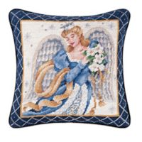 Hand-Stitched Azure Angel Needlepoint Throw Pillow