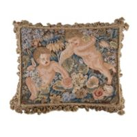 Cherubs Needlepoint Rectangle Throw Pillow