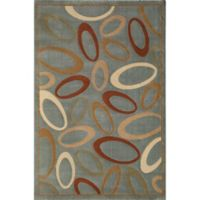 Rugs America Torino 3-Foot 11-Inch x 5-Foot 3-Inch Circles Area Rug in Blue