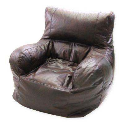 Genial Jumbo Faux Leather Arm Chair Bean Bag Chair In Brown