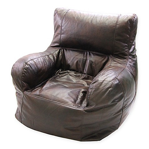 buy jumbo faux leather arm chair bean bag chair in brown from bed bath beyond. Black Bedroom Furniture Sets. Home Design Ideas