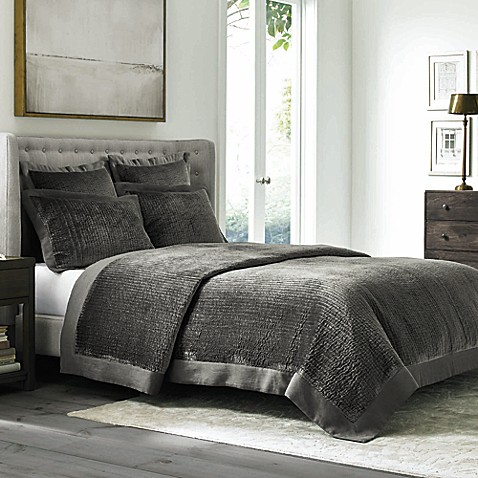 Wamsutta® Collection Velvet Coverlet in Grey