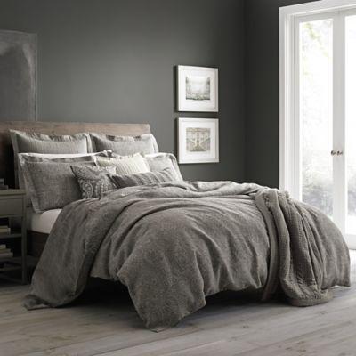 wamsutta vintage paisley linen fullqueen duvet cover in grey