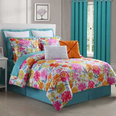 Elegant Fiesta Garden Reversible Twin Comforter Set In Turquoise/Yellow