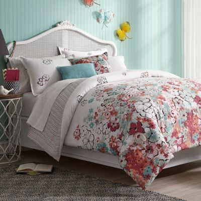 Collier Campbell Sketchbook Reversible Twin Comforter Set in White/Pink