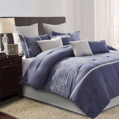 Audrey 10 Piece King Comforter Set In Blue