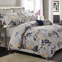 Tribeca Living Barcelona 12-Piece 300-Thread-Count Premium Cotton Percale Comforter Set in Navy