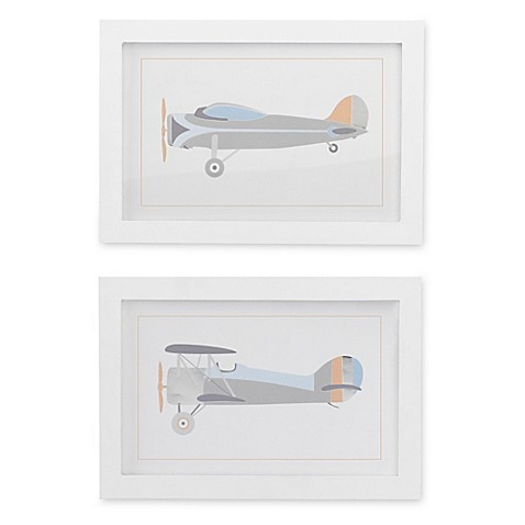 Lambs & Ivy® Silver Cloud Framed Airplane Wall Art (Set of 2 ...