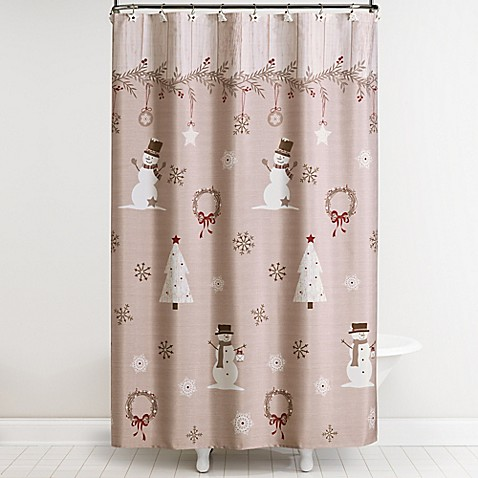 Rustic Christmas Shower Curtain And Hooks Set Bed Bath Beyond