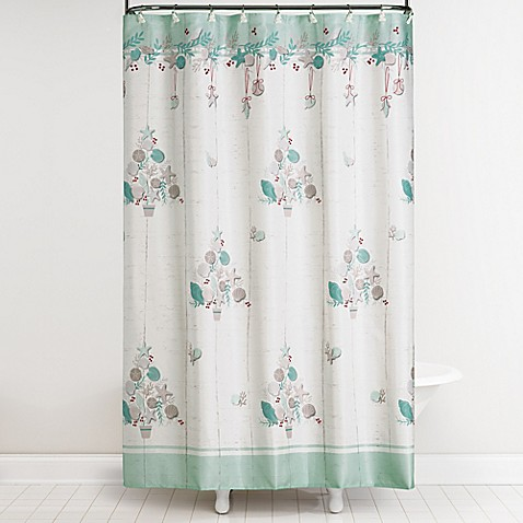 coastal christmas shower curtain and hooks set bed bath beyond. Black Bedroom Furniture Sets. Home Design Ideas
