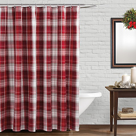 Winter Retreat Shower Curtain in Red - Bed Bath & Beyond