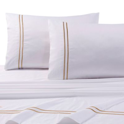 Tribeca Living 400 Thread Count Premium Cotton Dot King Pillowcases In Gold  (Set