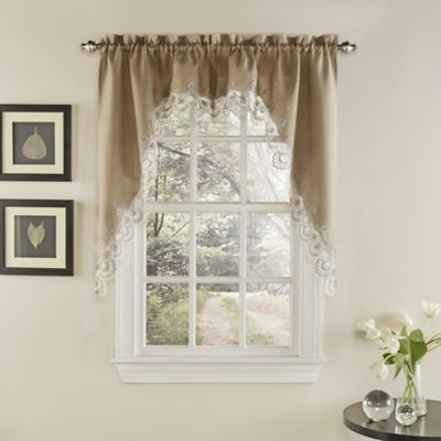 Palais Kitchen Window Curtain Swag Pair In Mocha