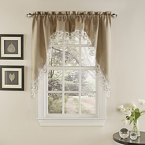 Buy Palais Kitchen Window Curtain Swag Pair In Mocha From