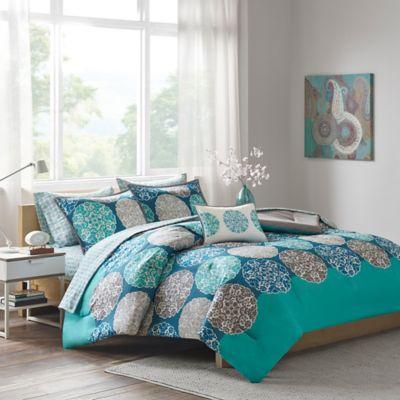 intelligent design marissa full comforter set in blue