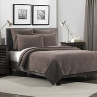Flat Iron Lynden Velvet Twin Quilt in Taupe