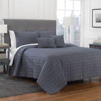 York 4-Piece Twin Quilt Set in Blue