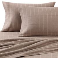 Luxury Portuguese Flannel King Sheet Set in Brown Plaid