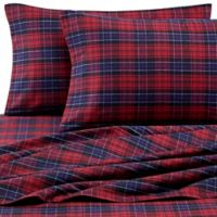 Luxury Portuguese Flannel Queen Sheet Set in Red Plaid