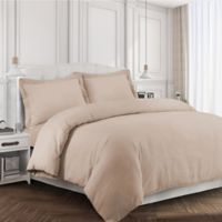 Tribeca Living 170 GSM Solid Flannel Queen Duvet Cover Set in Cashmere