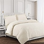 Tribeca Living 170 GSM Solid Flannel Queen Duvet Cover Set in Ivory