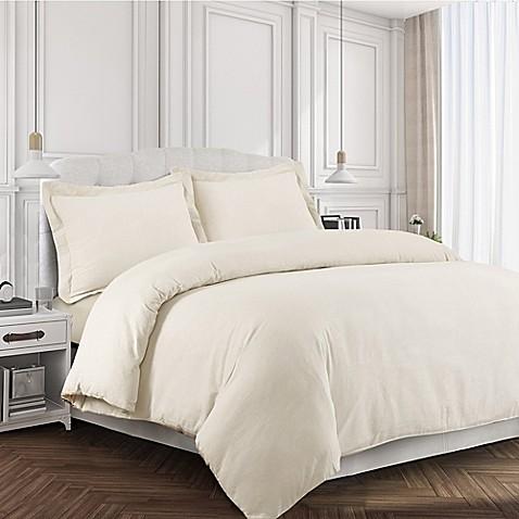 Tribeca Living 170 Gsm Solid Flannel Duvet Cover Set Bed