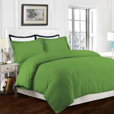 Tribeca Living 170 GSM Solid Flannel King Duvet Cover Set in Green