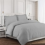 Tribeca Living 170 GSM Solid Flannel Queen Duvet Cover Set in Silver