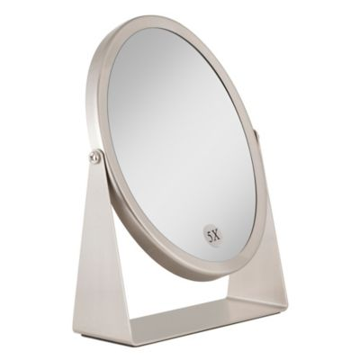 1x 5x Dual Sided Oval Vanity Mirror In Brushed Nickel