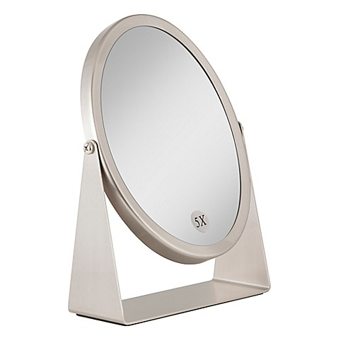 nickel bathroom mirror buy 1x 5x dual sided oval vanity mirror in brushed nickel 13825