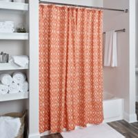 Rizzy Home Ikat Shower Curtain in Orange